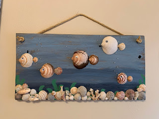 Reclaimed wood sea shell fish wall hanging