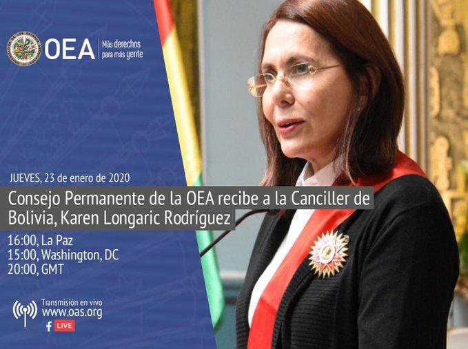 La canciller boliviana estará presente en la sede de la OEA en Washington / TWITTER