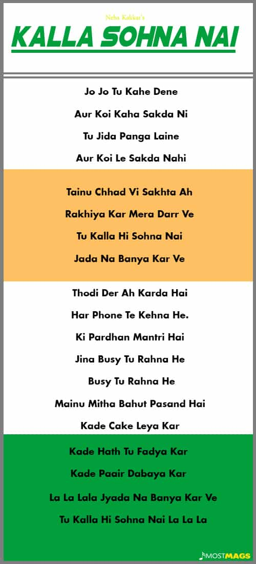 Kalla Sohna Nai Lyrics in Hindi Neha Kakkar