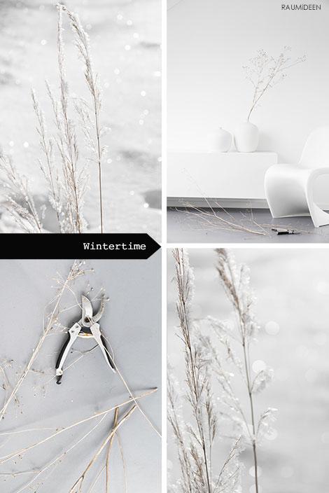 Winterliche Dekoration mit Gräsern