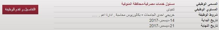 وظائف بنك مصر في محافظة المنوفية