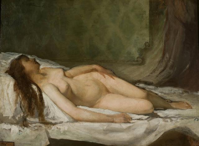 Eduardo Rosales y Gallinas - donna addormentata - nudo pittorico femminile