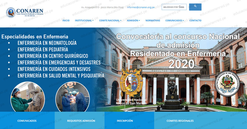 CONAREN: Cronograma Examen Admisión Residentado en Enfermería 2020 (Inscripción Proceso Extraordinario Virtual) www.conaren.org.pe