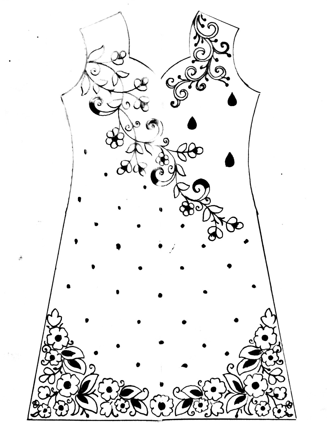 Hand Embroidery Dress Design Drawing For Fashion Design How To Draw Fashion Designer Dress Kameez Design Drawing
