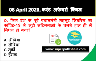Daily Current Affairs Quiz in Hindi 08 April 2020