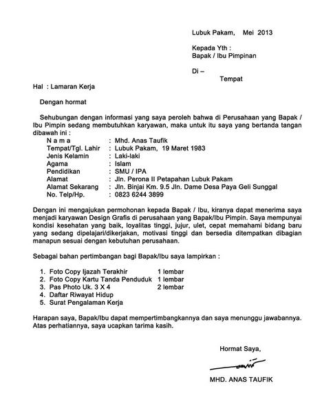 Contoh Surat Lamaran Kerja Di Pt Indofood Contoh Seputar Surat