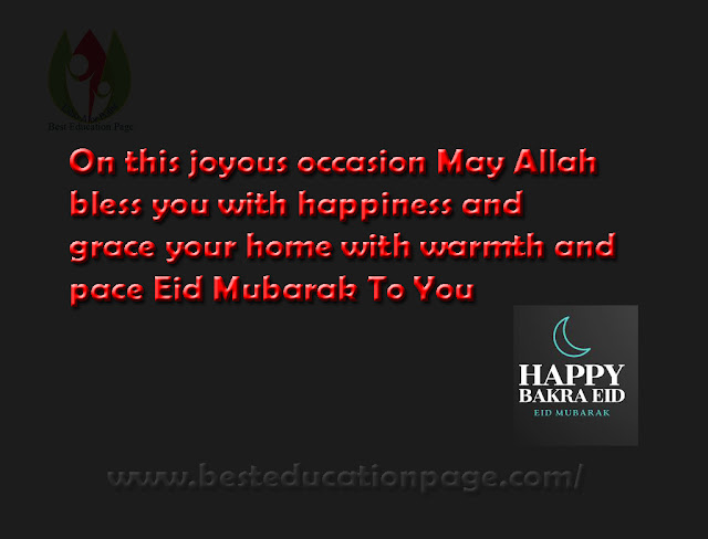 On this joyous occasion May Allah  bless you with happiness and  grace your home with warmth and  pace Eid Mubarak To You