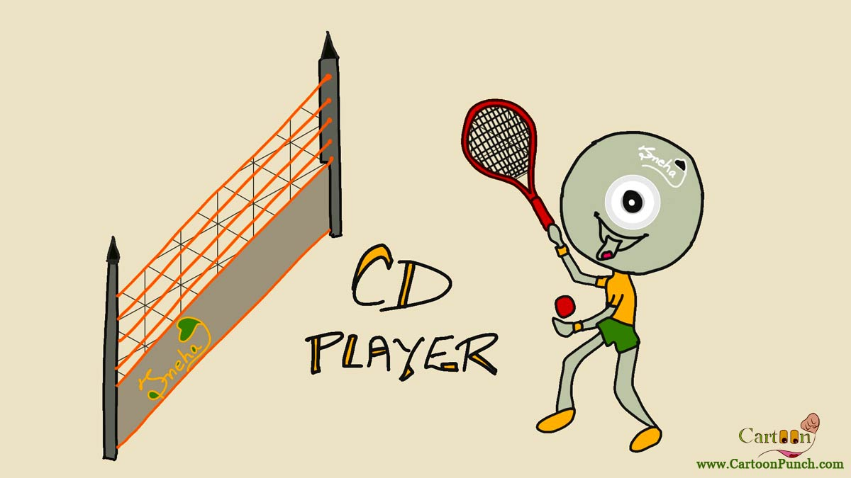CD player having fun playing with racket and ball over high net in badminton court: cartoons by sneha