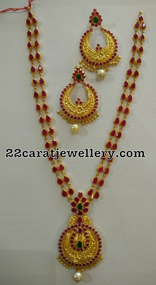 Ruby Long Chain Chandbalis Jewellery Designs