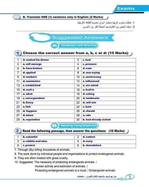 اجابة امتحان اللغة الانجليزية للصف الثالث الثانوي 2019 5