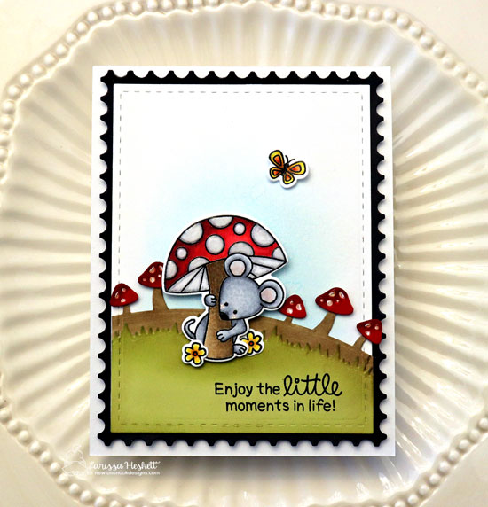 Mouse with Mushroom Card by Larissa Heskett | Garden Mice Stamp Set and Framework Die Set by Newton's Nook Designs #newtonsnook #handmade