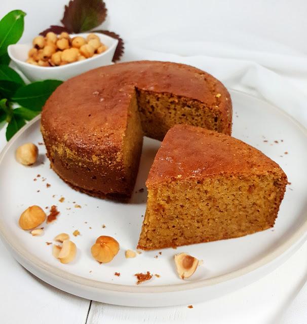 gâteau aux noisettes tout moelleux, sans gluten, sans oeuf