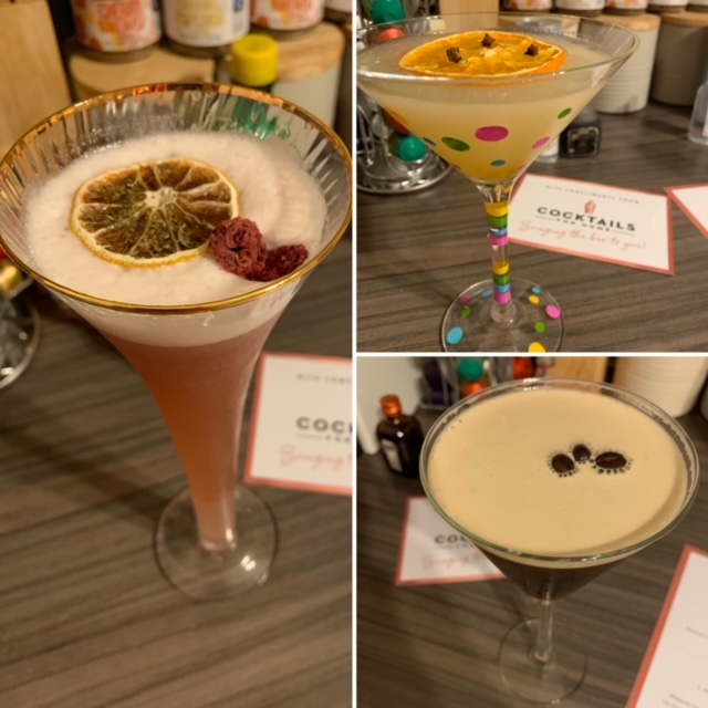 A trei of different Martini cocktails