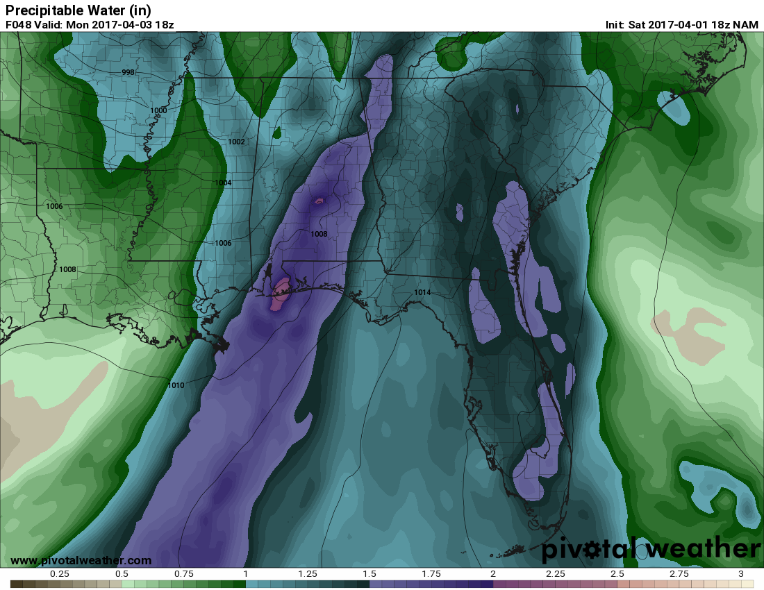 precipitable water from the 18z run of the nam valid at 18z 1 pm cdt monday image courtesy of pivotalweather com