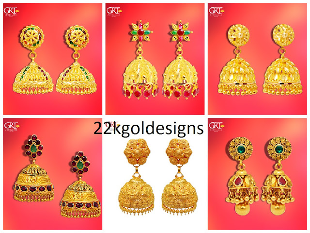 4de24bbb1 Beautiful 22k gold jhumkas designs by GRT Jewellers.22k gold jhumkas  collection.