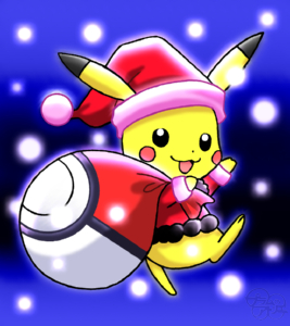 ポケモン:『ポケットモンスター』のピカチュウを描いてみました。クリスマスバージョンでサンタピカチュウ にしてみました。衣装は自分で考えてみました(*゚∇゚)ノ