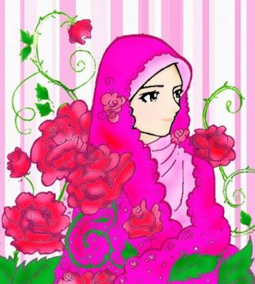 kartun muslimah imut dengan bunga mawar