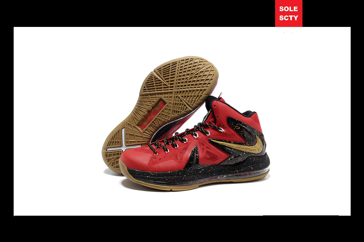 SOLE SOCIETY  Nike iD LeBron X P.S. Elite Black-Red-Gold b75504af9
