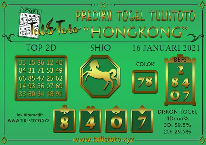 Prediksi Togel HONGKONG TULISTOTO 16 JANUARI 2021