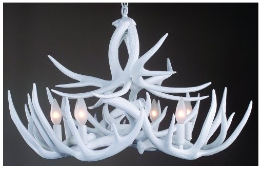 white rustic antler chandelier