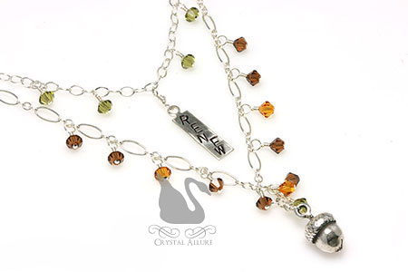 Renew Hand Stamped Crystal Acorn Charm Autumn Necklace (NC109)