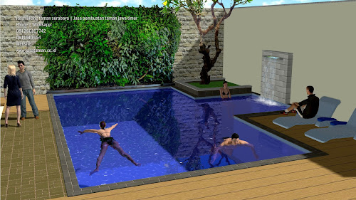Taman dan kolam renang belakang rumah jasataman co d