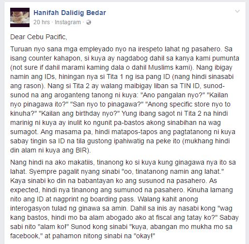 cebu pac alleged discrimination of Muslim