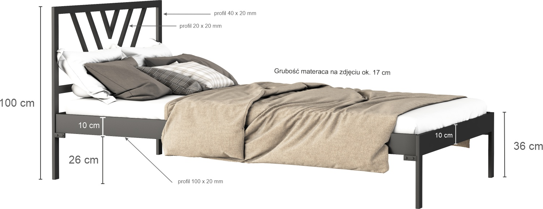 Łóżko metalowe Sidney (wzór 5) (120 cm)