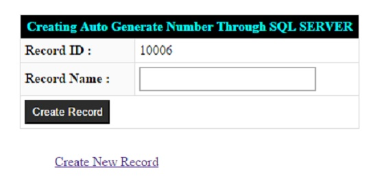 Auto Generate Number from SQL SERVER