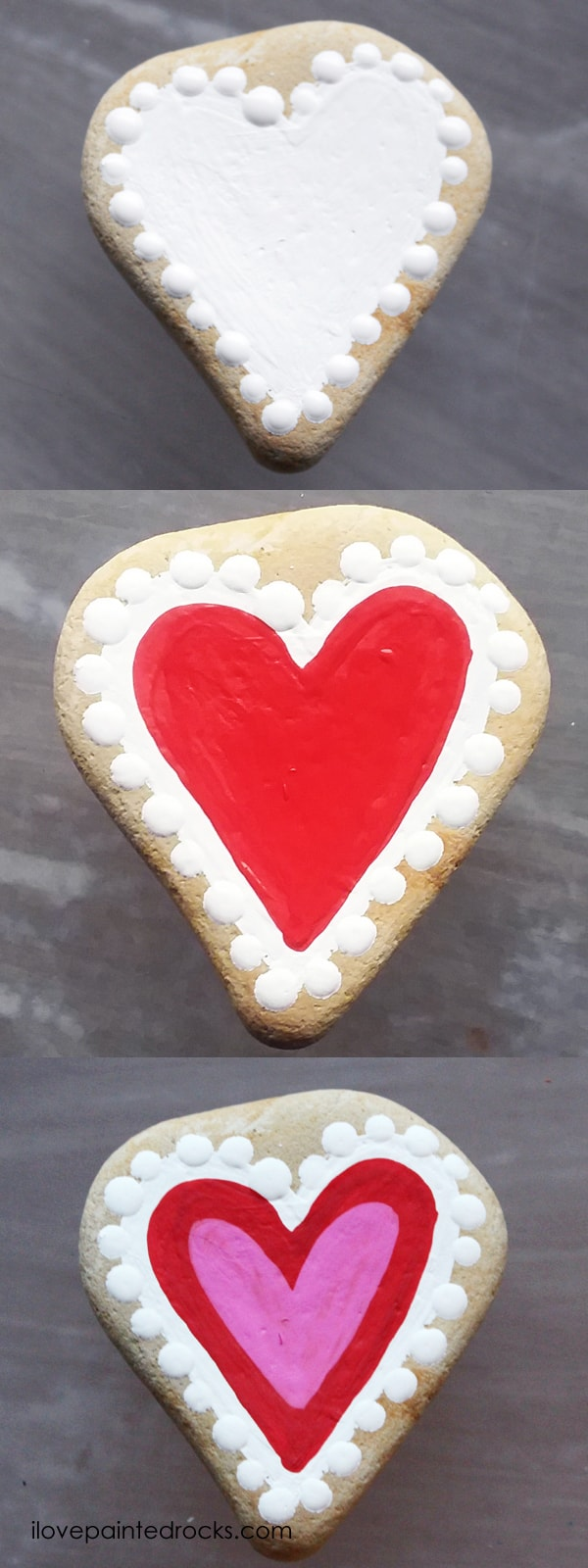 Easy rock painting ideas for Valentine's Day. I love all the painted rock tutorials in this post! Learn how to paint a doily inspired heart rock. #ilovepaintedrocks #rockpainting #paintedrocks #valentinescraft #easycraft #kidscraft #rockpaintingideas