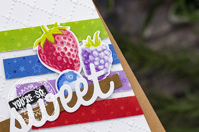 Sunny Studio Stamps: Surprise Party Berry Bliss Sweet Shoppe Sweet Word Die You're Sweet Card by Eloise Blue Birthday Card by Leanne West