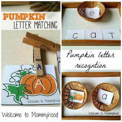 Preschool pumpkin activities: pumpkin letter matching {Welcome to Mommyhood}
