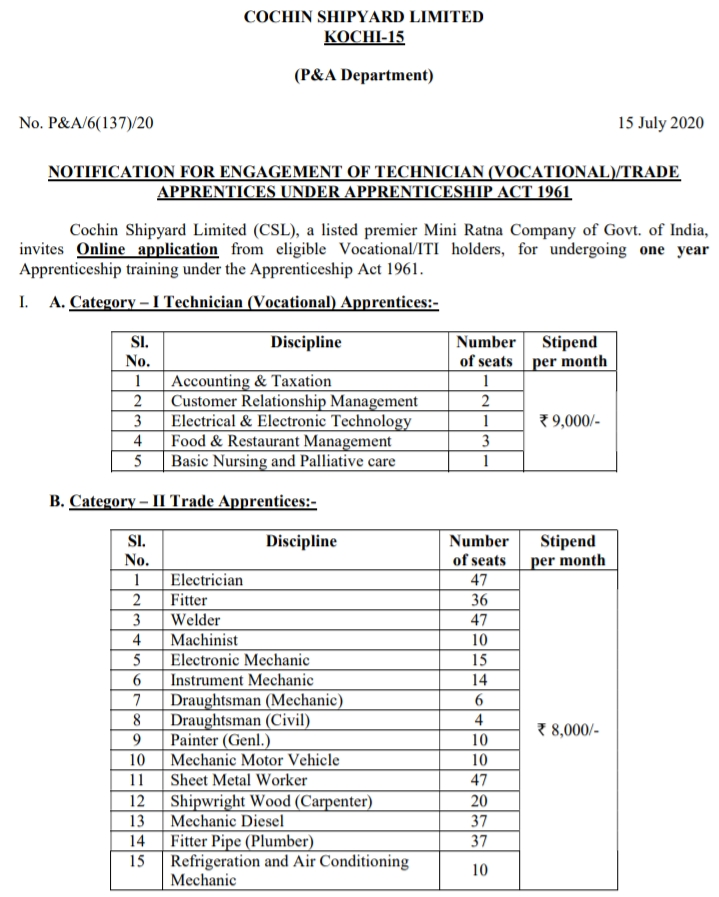 NOTIFICATION FOR ENGAGEMENT OF TECHNICIAN (VOCATIONAL)/TRADE   APPRENTICES UNDER APPRENTICESHIP ACT 1961,apprenticeship act, 1961 pdf  apprentice act amendment 2019  apprentice act, 1961 stipend 2019  apprenticeship act, 1961 stipend  apprentice act amendment 2018  as per apprentice act, 1961 salary  apprenticeship act 2019  apprentice act 1961 ppt  apprentice act, 1961 in gujarati pdf  apprentice leave rules  naps guidelines