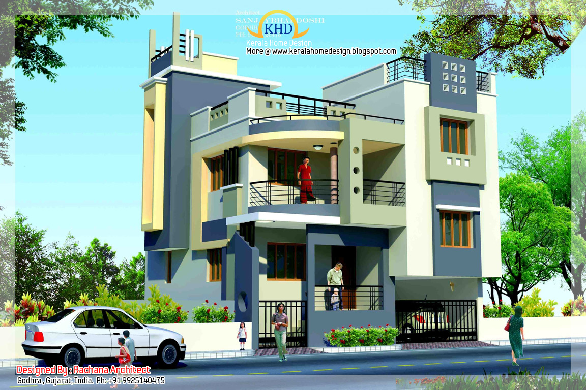 Duplex house plan and elevation 1770 sq ft kerala for Duplex designs india