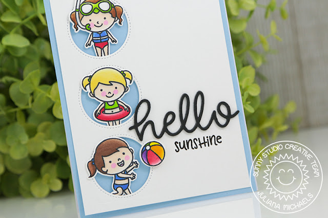 Sunny Studio Stamps: Beach Babies Hello Sunshine Window Card by Juliana Michaels