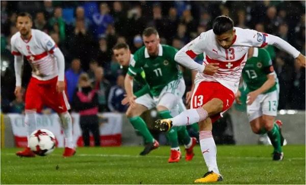 cuplikan gol irlandia utara vs swiss 0-1