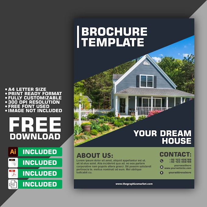 Real Estate Brochure Design Template   Free Download