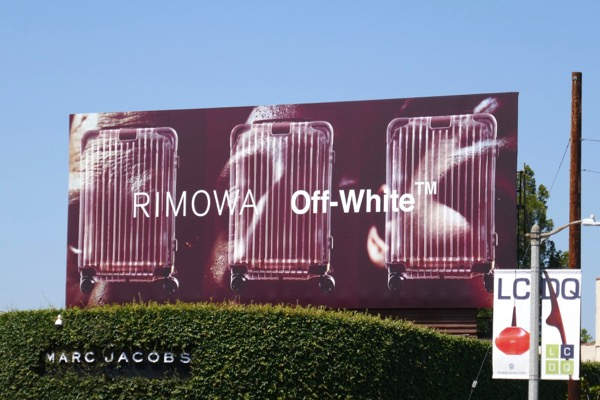 Rimowa Off-White suitcase billboard