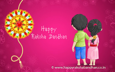 Rakshabandhan wishing greeting card with brother and sister holding hands