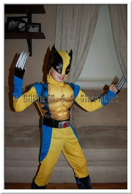 Last year our son wore a size medium costume and it was long on him. This year a medium-sized costume just fits. The hooded mask also just fits. & 3 Garnets u0026 2 Sapphires: Review: Wolverine Origins Muscle Chest ...