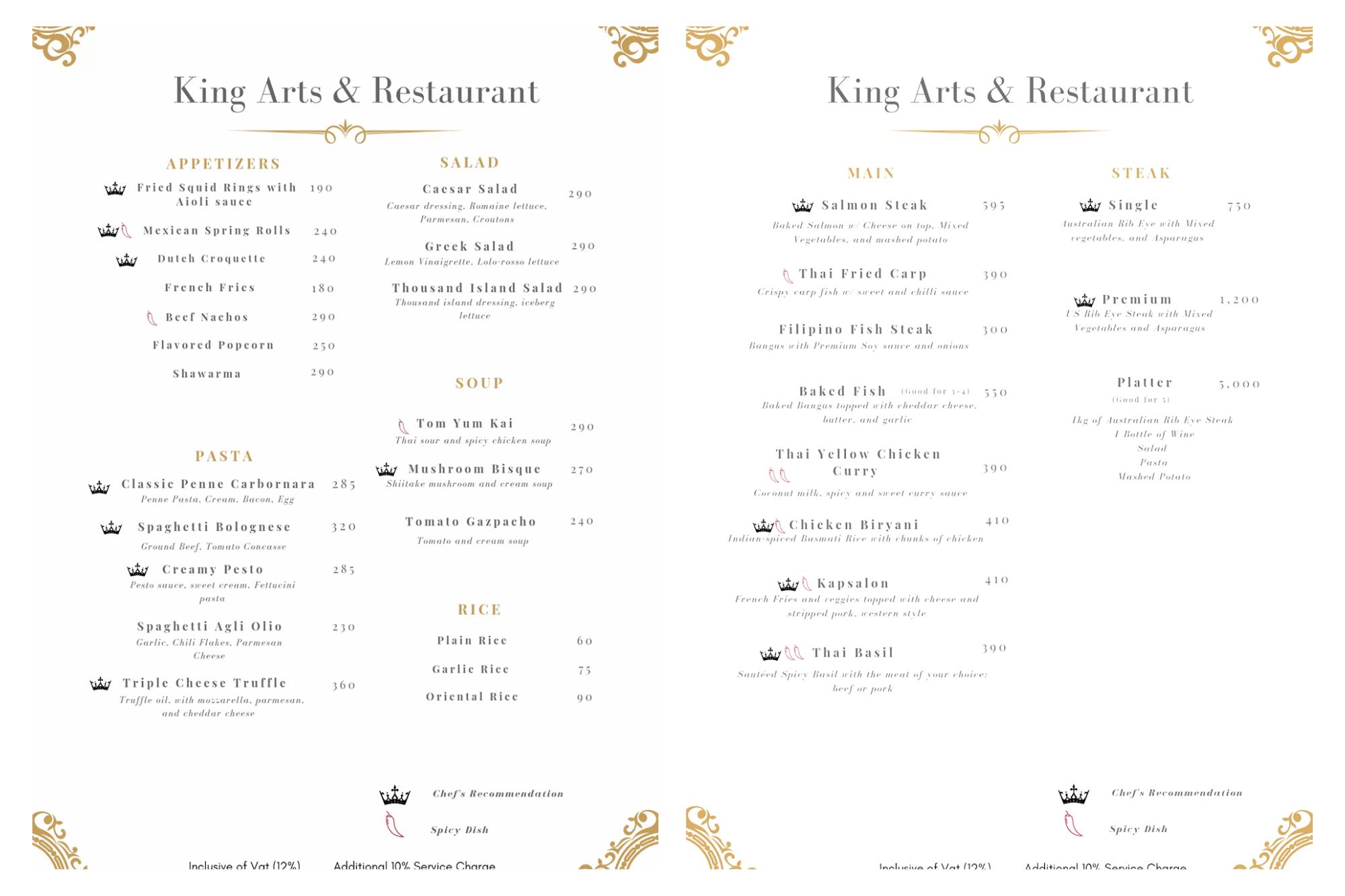 King Arts and Resto Bar Menu
