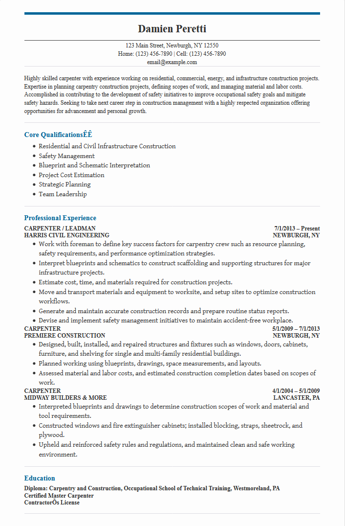 Carpenter Resume Sample - Free Word Format - Best Free Templates
