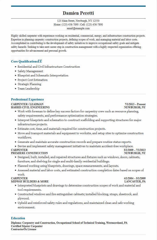 sample construction carpenter resume sample resumes - Fast.lunchrock.co