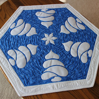 SNOWY TREES-TREE DECOR-TABLE DECOR-WINTER TABLE TOPPER-SNOWFLAKE-QUILT PATTERN