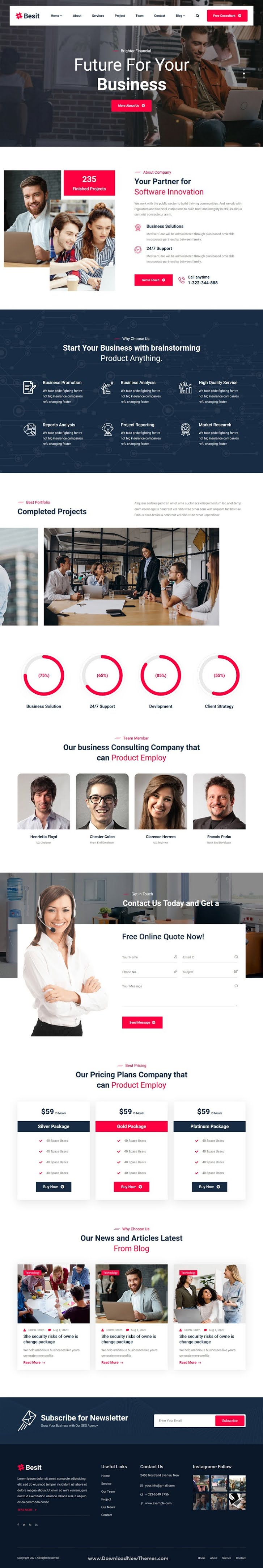 React Next Corporate One Page Template