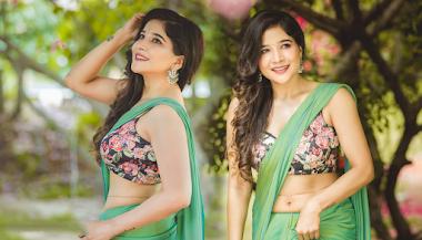Cinderella Tamil Movie Actress Sakshi Agarwal Shines Like A Peacock In A Green Saree Photos