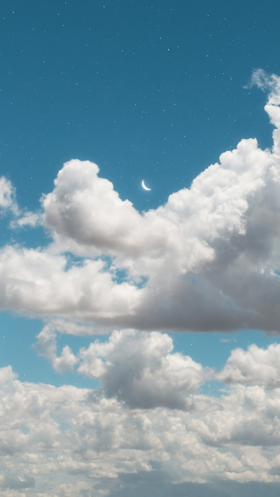 Crescent moon in the blue sky