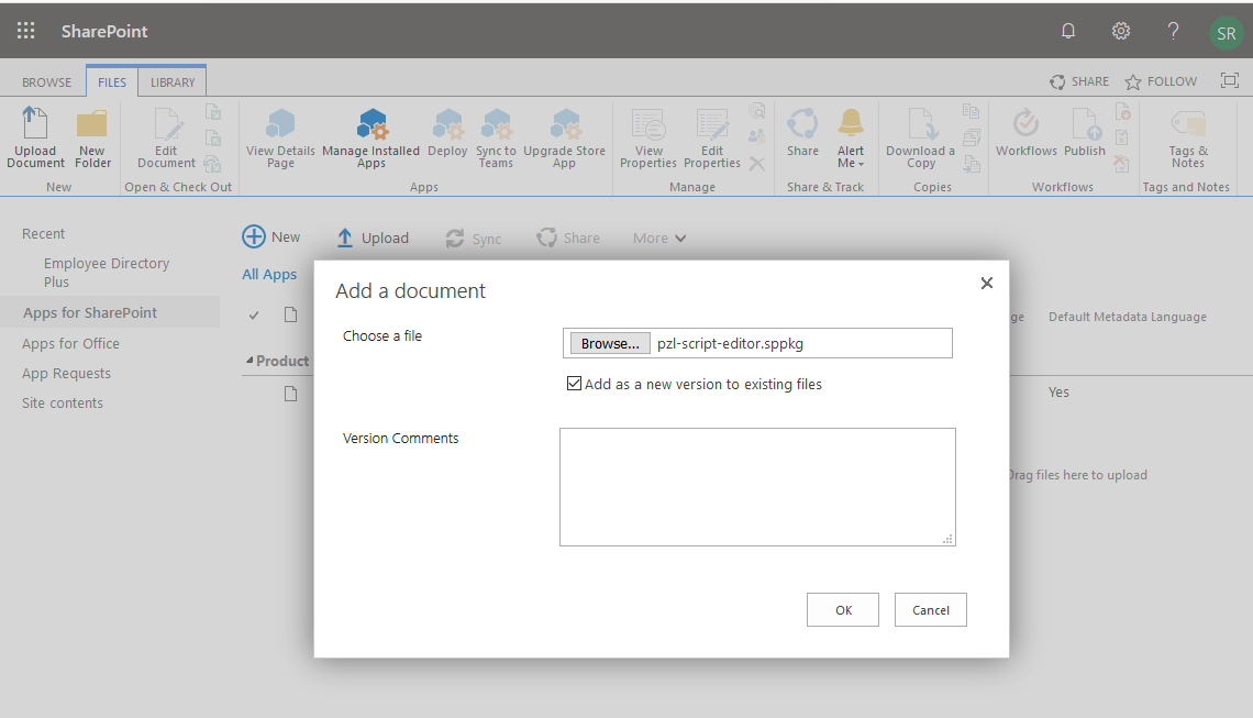 add app to sharepoint online App catalog