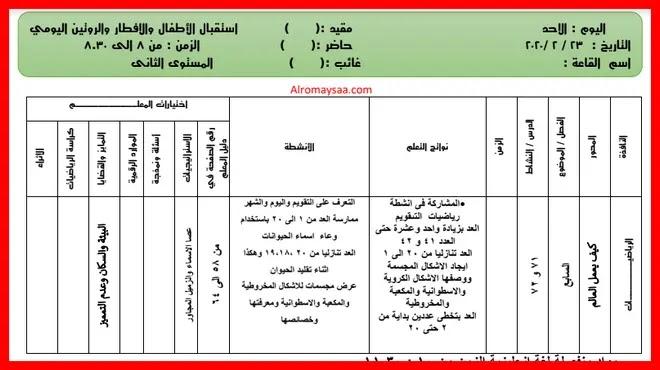 تحضير المستوى الثانى kg2 رياض الاطفال من الاحد 23 فبراير الى الخميس 27 فبراير
