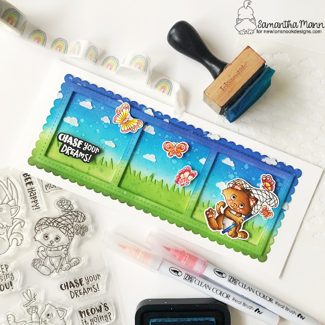 Chase Your Dreams Cat and Butterly card by Samantha Mann | Captivated Kittens Stamp Set, Petite Clouds Stencil, Land Borders Die Set, and Slimline Die Sets by Newton's Nook Designs #newtonsnook